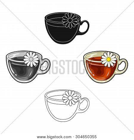Glass Mug With Tea Useful.vegetarian Therapeutic Chamomile Tea.vegetarian Dishes Single Icon In Cart
