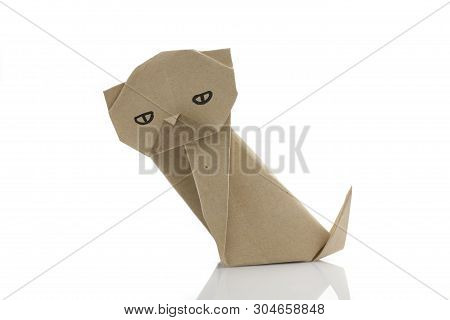 Origami Paper Dog By Recycle Papercraft In White Background