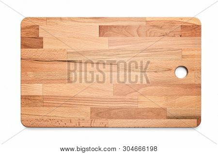 Laminated wooden cutting kitchen board on white background, included clipping path