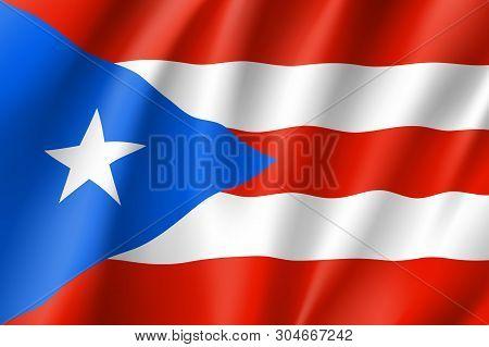 Waving Flag Of Puerto Rico In Caribbean Sea. Patriotic Symbol In Official Country Colors. Illustrati