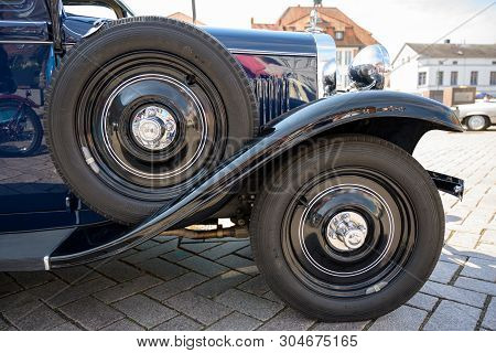 Ratzeburg, Germany - June 2, 2019: Historic Opel, Front Wheel, Mudguard And Spare Wheel Of The Class