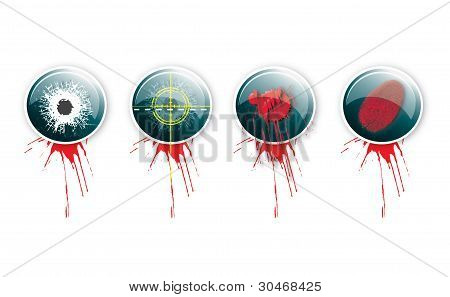A set of four round glass effect buttons with a crime theme. Themed illustrations to each button with grunge effect type and blood splatter. poster