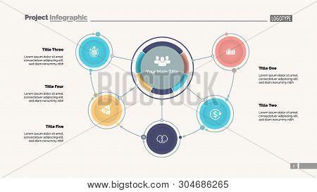 Mindmap Diagram With Five Options. Process Diagram, Flow Chart, Editable Template. Creative Concept