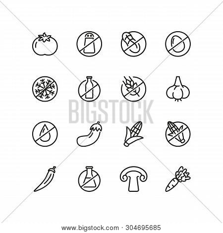 Organic Food Line Icon Set. Vegetable, Gluten Free, Lactose Free. Food Concept. Can Be Used For Topi