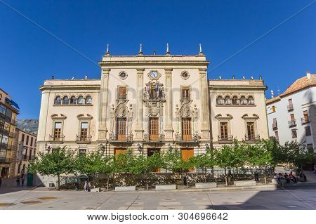 Jaen, Spain - May 13, 2019: Historic Town Hall At The Cathedral Square Of Jaen, Spain