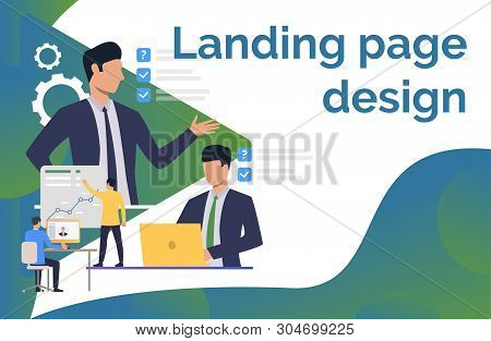 Managers Giving Tasks. Boss, Manager, Modern Technology, Office, Sample Text. Business Concept. Vect