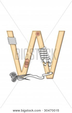 Alphabet letter W in the set Boo Boo is tan to represent the color of skin. Each letter is bandaged and has bandaids applied. Strips of guaze and scissors also decorate letters. poster