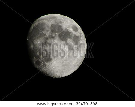 Full Moon Background. Phase Of The Moon, Full Moon. Highly Detailed Photo Of The Bright Full Moon In