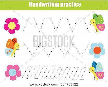 Handwriting Practice Sheet. Educational Children Game. Tracing Lines With Funny Insects. Early Educa
