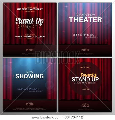 Set Of Stand Up And Theater Banners. Red Curtains Stage, Theater Or Opera Background With Spotlight.
