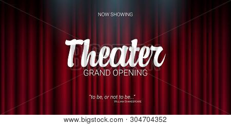 Theater Stage. Red Curtains Stage, Theater Or Opera Background With Spotlight. Festival Night Show B