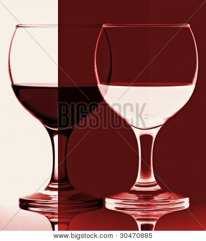 abstract red and white wine glasss