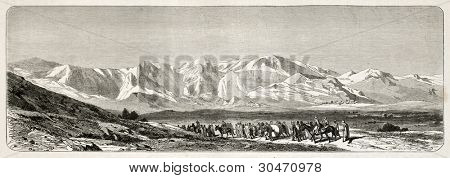 Djurdjura mountains range old view, Algeria. Created by Dohousset, published on Le Tour du Monde, Paris, 1867 poster