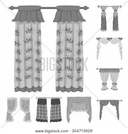 Vector Illustration Of Interior And Cornice Sign. Set Of Interior And Drapes Stock Vector Illustrati