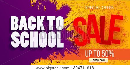 Back To School Sale Horizontal Banner With Hand Drawn Education Doodles Pattern. Logo On Apple And I
