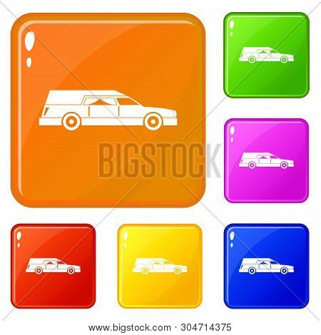 Hearse Icons Set Collection Vector 6 Color Isolated On White Background