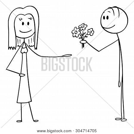 Cartoon Stick Figure Drawing Conceptual Illustration Of Man Offering Flowers And Declaring Love To W