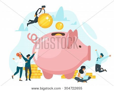 Coins In Piggy Bank Flat Vector Illustration. Family Saving Money Together. Quick Cash, Loan. Banker