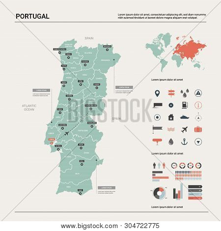 Vector Map Of Portugal. Country Map With Division, Cities And Capital Lisbon. Political Map,  World