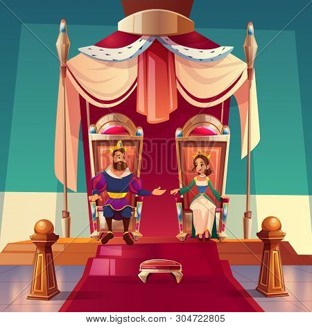 King and queen sitting on thrones in palace. Medieval royal family, monarchy husband and wife in gold crowns and luxury dressing, fairytale kingdom and history characters. Cartoon vector illustration poster
