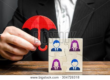 The businessman insures and protects the business team of employees. Provision of an extensive range of solutions tailored to protect assets. Government business support. Team insurance, protection. poster