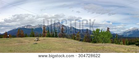 Panoramic View Of The Mountains In Jasper National Park, Jasper, Alberta, Canada