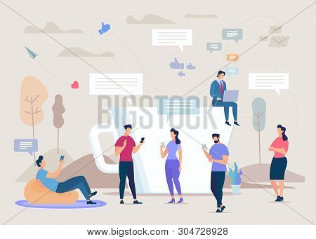 Social Network Community Flat Vector Concept. People Using Cellphones, Businessman Working On Laptop