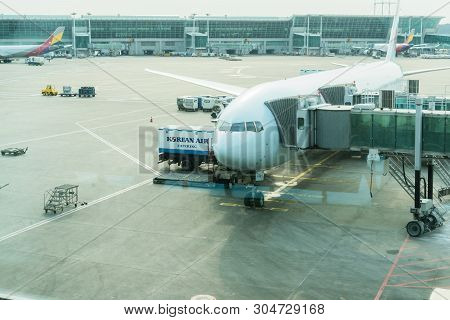 Seoul, Korea - February 18,2018: Korean Airlines Airbus With Winglets, Air Transportation Travel, Ai