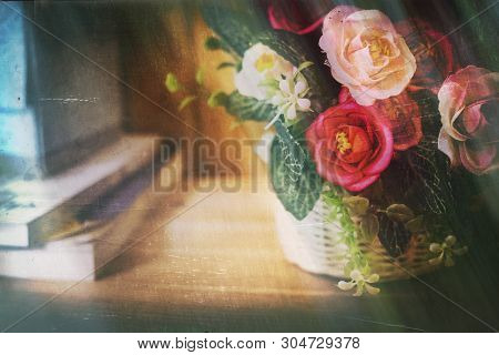 Old Grunge Vintage Postcard With Rose Bouquet On The Table