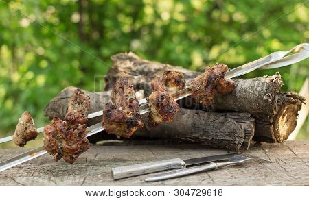 Two Skewers Of Meat Roasted On An Open Fire. Active Rest On The Nature