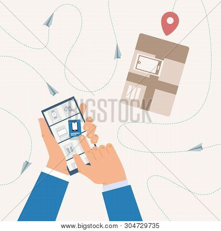 Shopping Online, Tracking Delivery Status With Mobile Phone Application Flat Vector Concept With Man