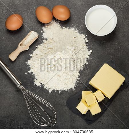 Set Of Ingredients For Tender And Tasty Biscuits. Top View. Flat Lay