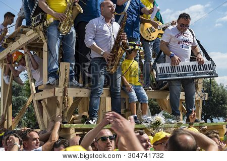 Nola, Italy - June 28, 2015: The Gigli Feast Is A Popular Festival In Nola, Italy During Of The Cele