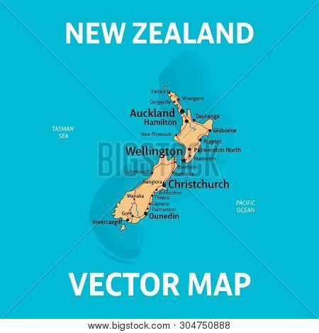 Nz Map. Vector Map Of New Zealand With Cities, Rivers And Roads On Separate Layers.