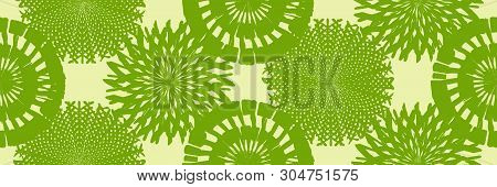 Grunge Spiral And Round Stamp Seamless Texture. Distress Bright Colorful Brush Painted Circles Endle