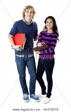 happy couple with school books