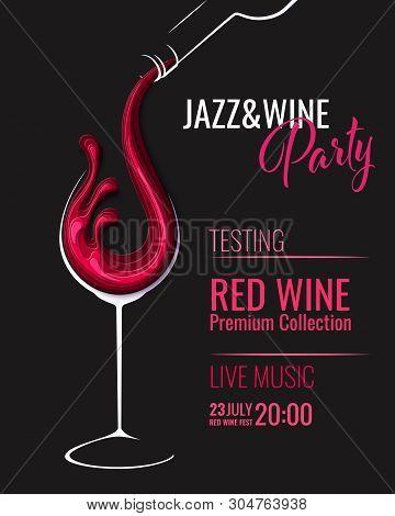 Red Wine Splash In Wine Glass With Bottle
