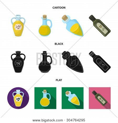 Vector Design Of Food  And Bung Symbol. Set Of Food  And Oil  Stock Vector Illustration.