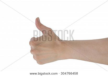 Thumb Up Hand Sign. Woman Hand Showing Thumb Up, Like, Good, Approval, Acceptance, Okay, Ok, Positiv