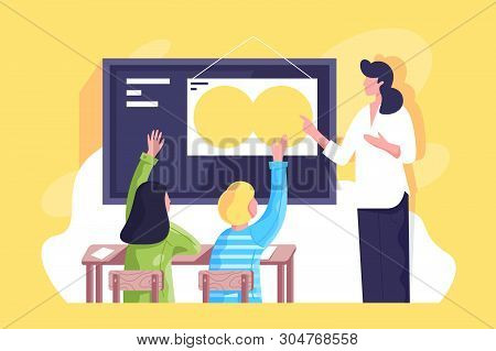 Flat Classroom With Young Woman Teacher And Schoolchildren Hand Up. Concept Businesswoman And Studen