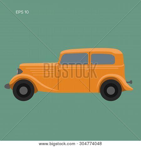 Old Vintage Retro Pre-war Car Vector Illustration. Exclusive Car