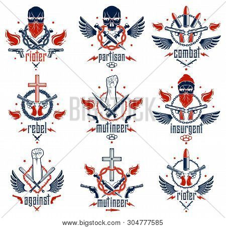 Anarchy And Chaos Aggressive Emblem Or Logo With Strong Clenched Fist, Aggressive Skull, Bullets And