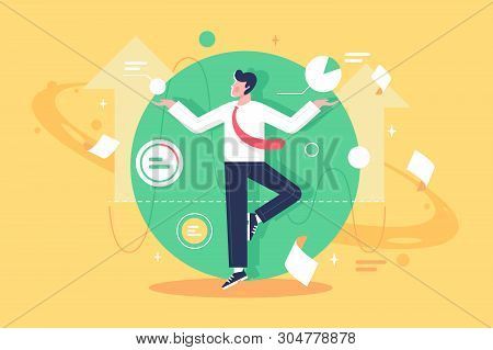 Flat Young Man Employee Control Data, Diagram And Paper At Work. Concept Businessman Character With