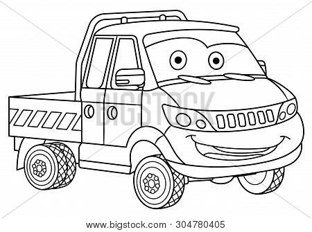 Coloring Page. Colouring Picture. Cute Cartoon Delivery Truck. Cargo Business Van. Childish Design F