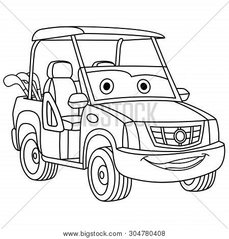 Coloring Page. Colouring Picture. Cute Cartoon Golf Car. Childish Design For Kids Coloring Book.