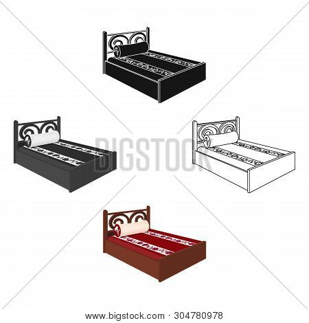 Home Bed With Cushion In The Shape Of An Oval.bed With Red Mattress.bed Single Icon In Cartoon, Blac