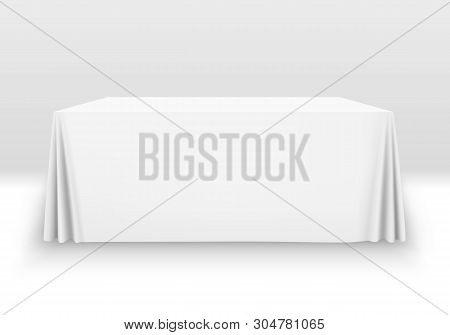 White Tablecloth On The Table Empty Mockup. Isolated Vector Illustration On A Light Background.