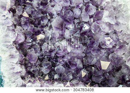 Amethyst Druse, Amethyst Crystals Close Up View, Precious Stone.