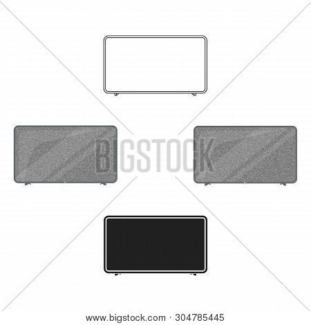 Lcd Television Icon In Cartoon, Black Style Isolated On White Background. Household Appliance Symbol