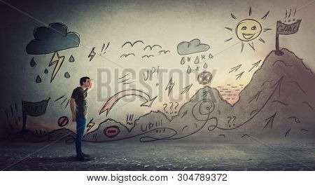 Confident Guy Starting A Life Quest With Obstacles Drawn On Wall. Self Overcome Imaginary Mountain,